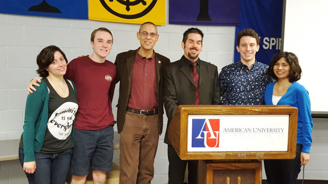 Leadership group of the American University Humanist Community with Chaplain Rabbi Binyamin Biber and UnitedCoR's Executive Director.