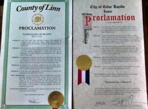 Humanists of Linn County and Eastern Iowa CoR received two proclamations.