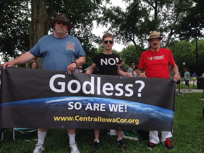 John Fruetel (Board Member—Iowa Atheists and Freethinkers), Nickolas Burdock (thanks for the crazy street preacher video!) and Rory Moe—Central Iowa Coalition of Reason (Des Moines)