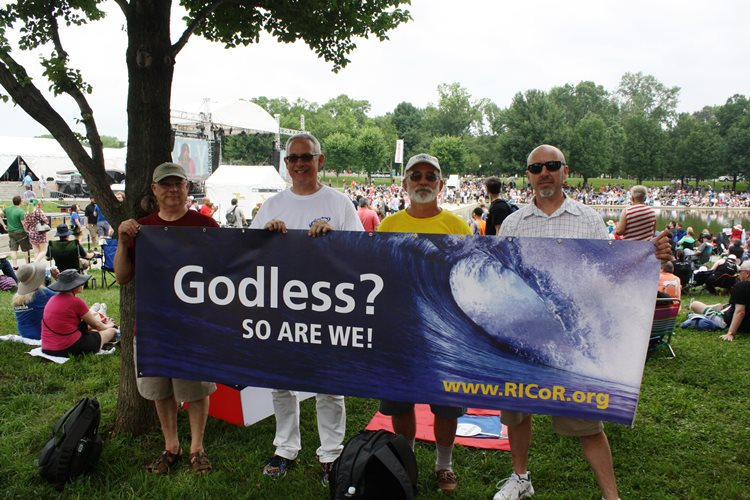 Dr. Tony Houston (second from left), Michael Crooks (far right) and friends from Rhode Island Coalition of Reason