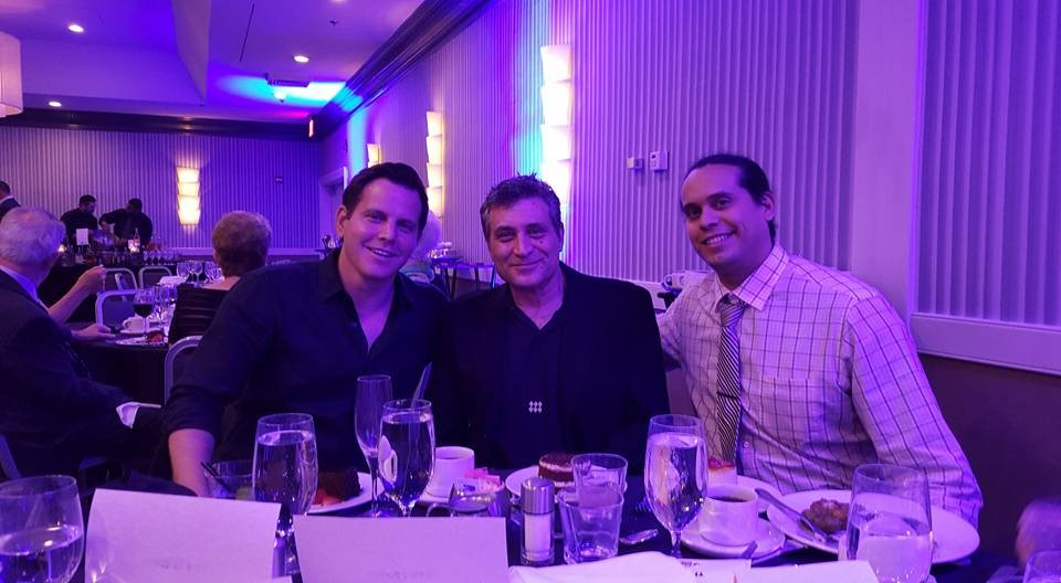 Representing Mythicist Milwaukee at the 2016 Reason Rally VIP dinner. Sitting with secular and social activists Dave Rubin and Paul Provenza (left to right).