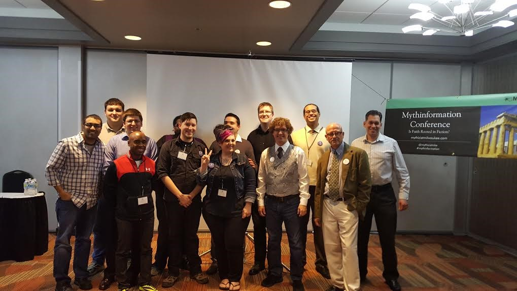 First Mythinformation Conference with the Mythicist Milwaukee team and event speakers Dr. Richard Carrier, Hemant Mehta, James Kirk Wall (no specific order).