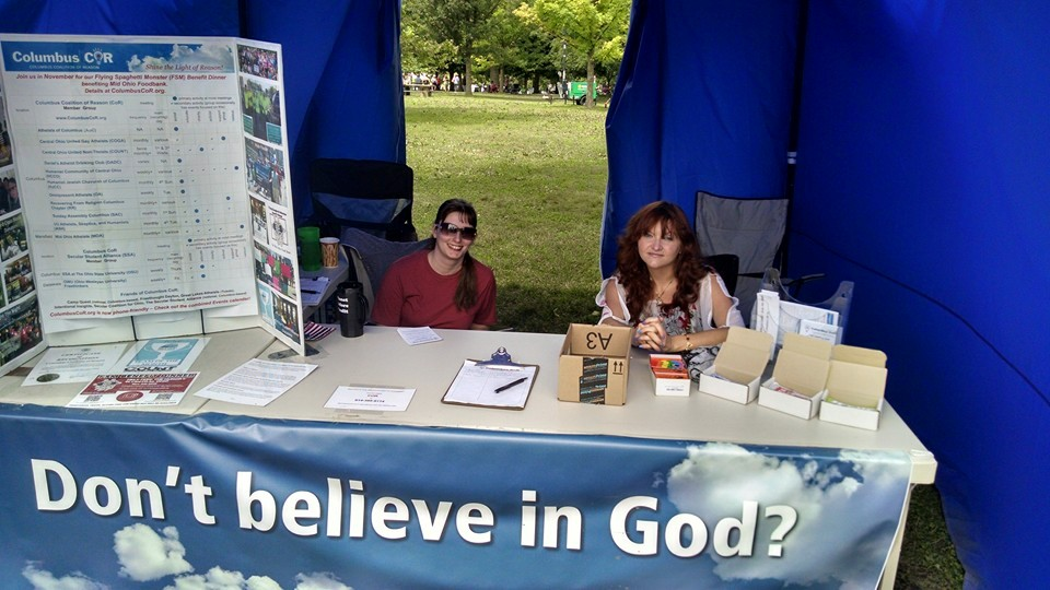 Summer events: Amy and Mandi tabling at Columbus CoR booth in 2015