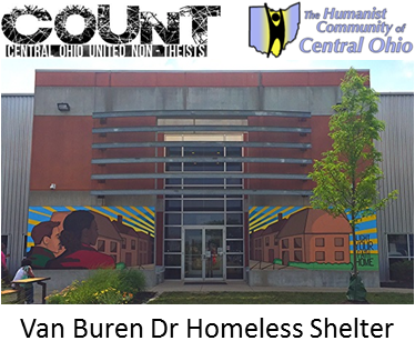 COUNT and HCCO logos above photo of entrance to Van Buren Dr Homeless Shelter