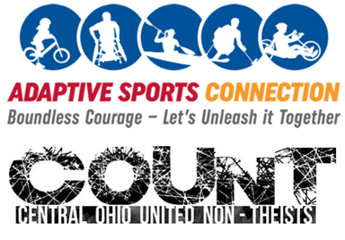 Adaptive Sports Connection and COUNT logos with motto: Boundless Courage - Let's Unleash It Together