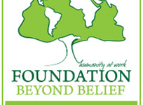 Foundation Beyond Belief logo (tree made of continents with humanity at work slogan) Foundation Beyond Belief Heart of Humanism Awards