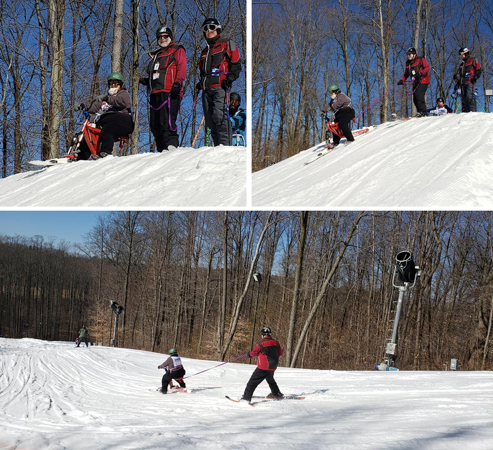montage of 3 photos showing instructor tethering behind a ski bike student