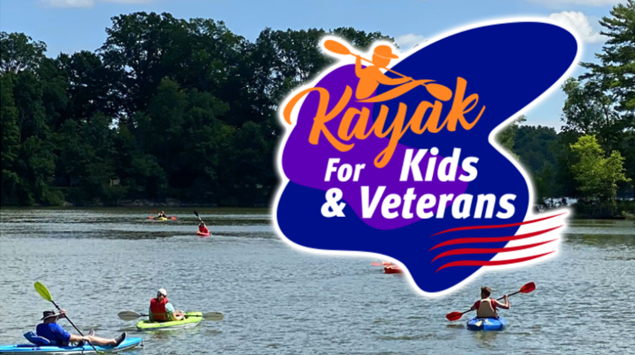 Kayak for Kids & veterans logo on photo of kayakers