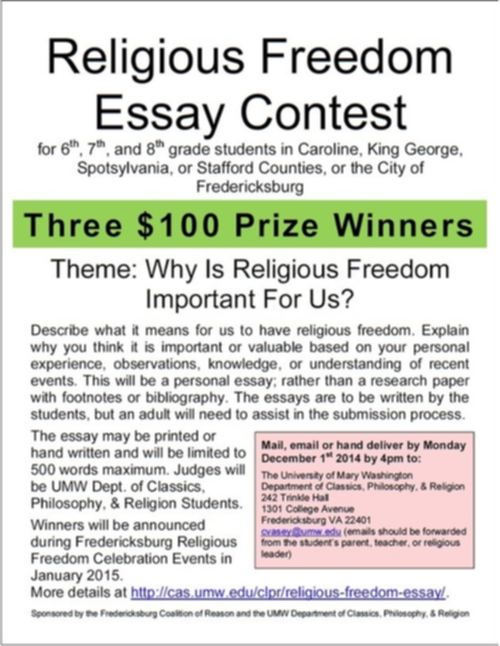 Importance Of Religious Freedom Essay Contest  United Cor Importance Of Religious Freedom Essay Contest
